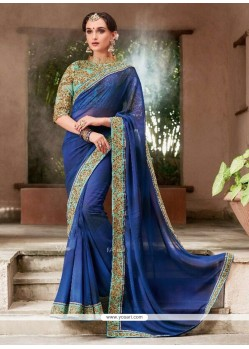 Embroidered Faux Georgette Classic Saree In Navy Blue