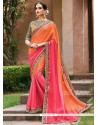 Hot Pink And Orange Embroidered Work Faux Georgette Shaded Saree