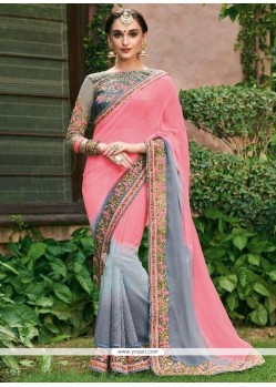 Embroidered Work Grey And Pink Faux Georgette Shaded Saree