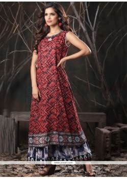 Print Work Cotton Red Party Wear Kurti