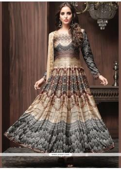 Print Work Multi Colour Art Silk Readymade Anarkali Suit