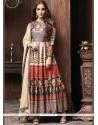 Art Silk Print Work Readymade Anarkali Suit