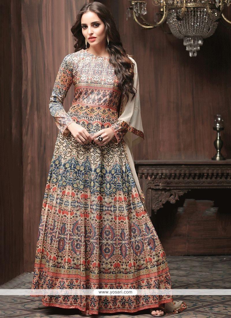 Art Silk Multi Colour Print Work Readymade Anarkali Suit