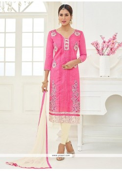 Cotton Pink Lace Work Churidar Suit