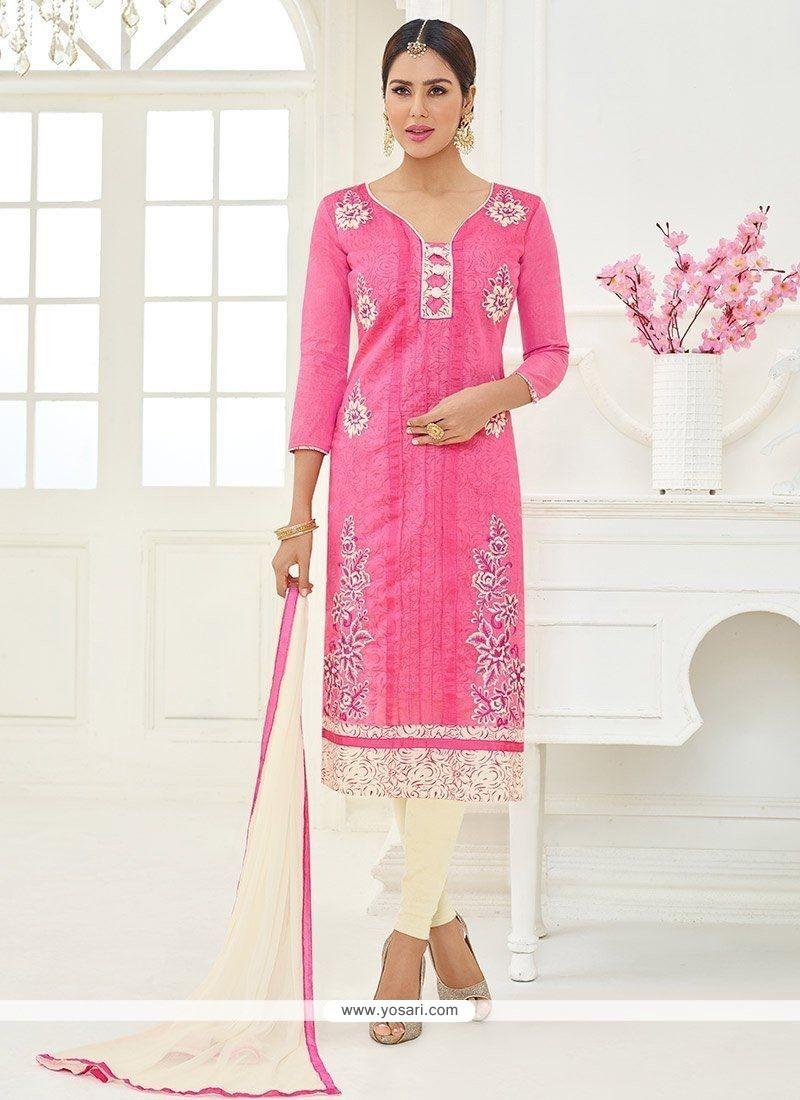 Cotton Pink Lace Work Churidar Suit