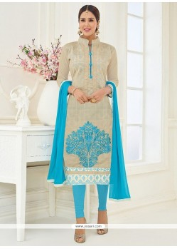 Lace Work Grey Cotton Churidar Suit