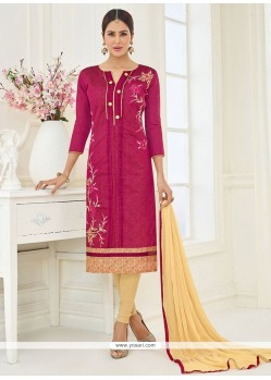 Embroidered Work Cotton Magenta Churidar Suit