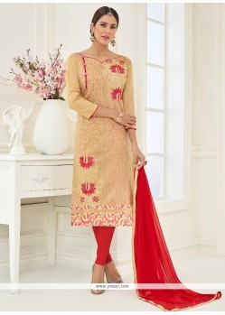 Beige Embroidered Work Churidar Suit