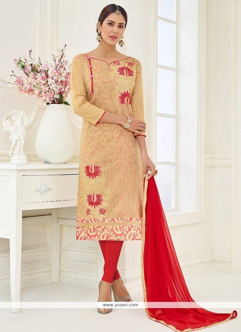 Beige Embroidered Work Churidar Suit