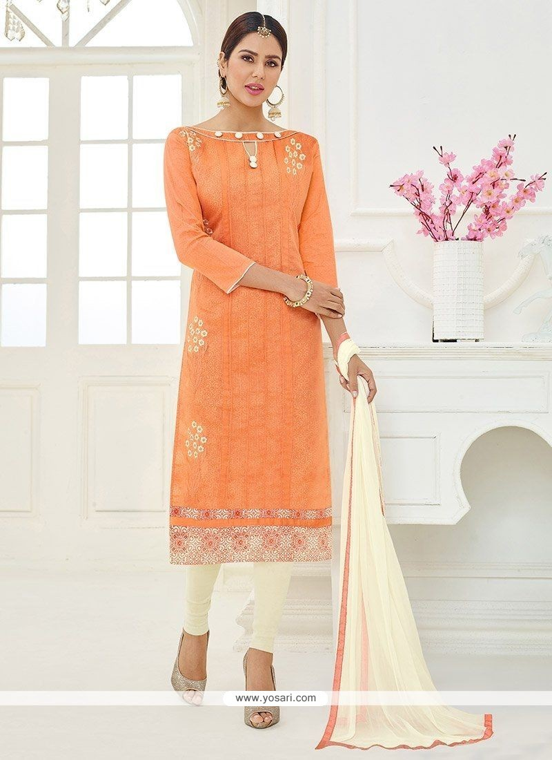 Orange Embroidered Work Cotton Churidar Suit