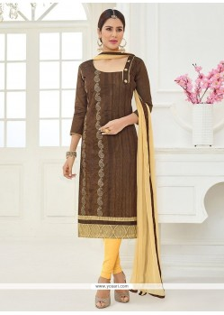 Cotton Brown Lace Work Churidar Suit