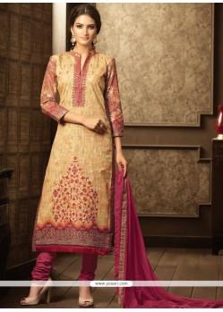 Cotton Beige Embroidered Work Churidar Designer Suit