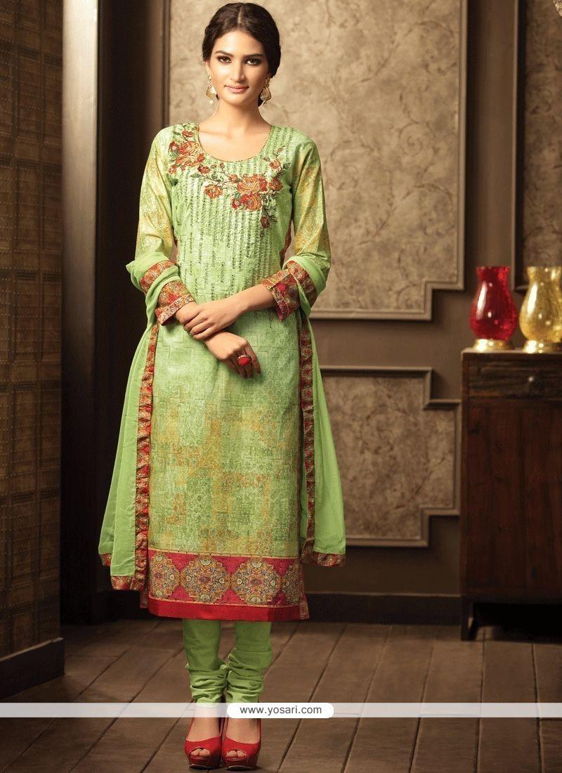 Stone Work Cotton Churidar Designer Suit