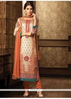 Multi Colour Stone Work Cotton Churidar Designer Suit