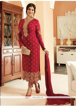 Ayesha Takia Maroon Faux Georgette Lace Work Churidar Designer Suit