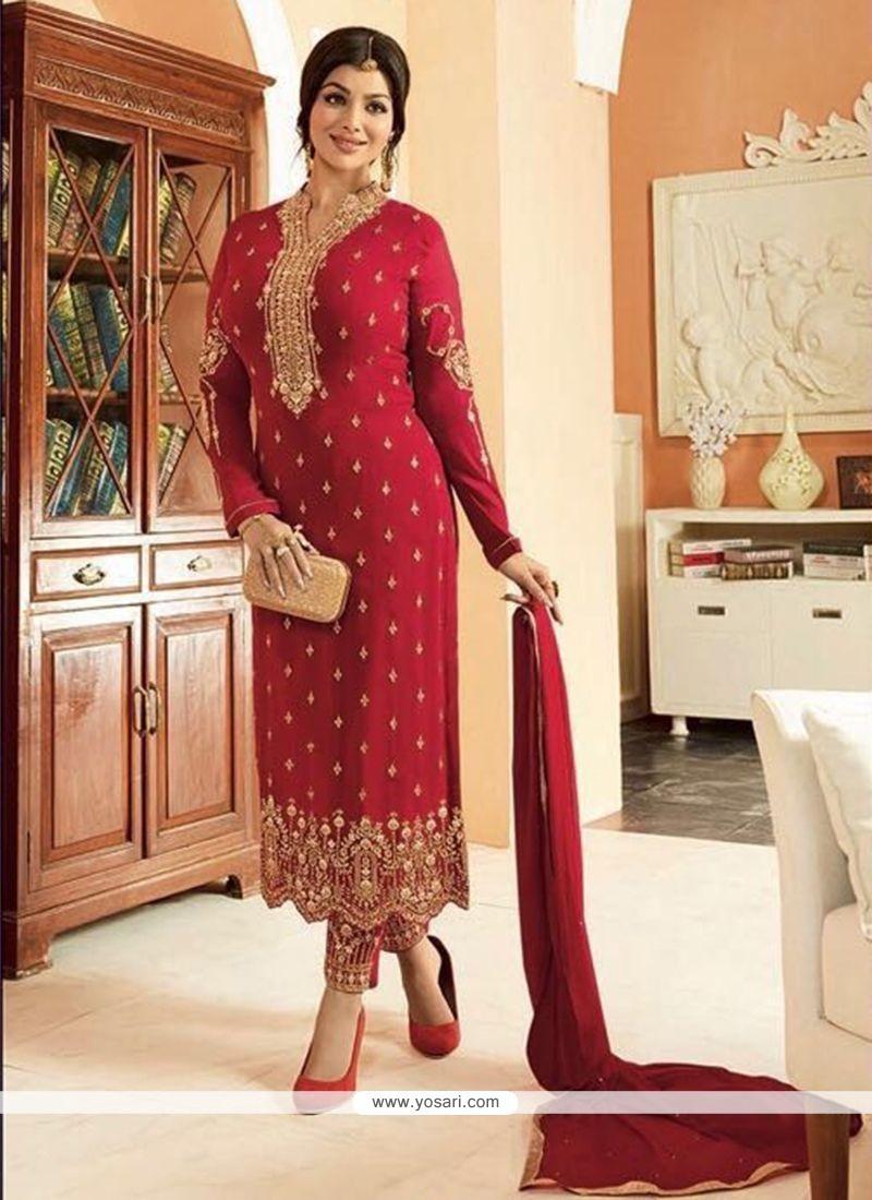 Ayesha Takia Maroon Faux Georgette Lace Work Churidar Designer Suit