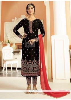 Ayesha Takia Black Resham Work Churidar Designer Suit