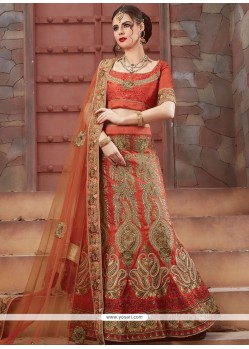 Art Silk Orange Lehenga Choli