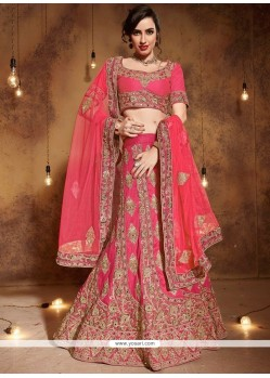 Resham Art Silk Lehenga Choli In Rose Pink