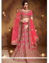 Resham Art Silk Lehenga Choli In Rose Pink