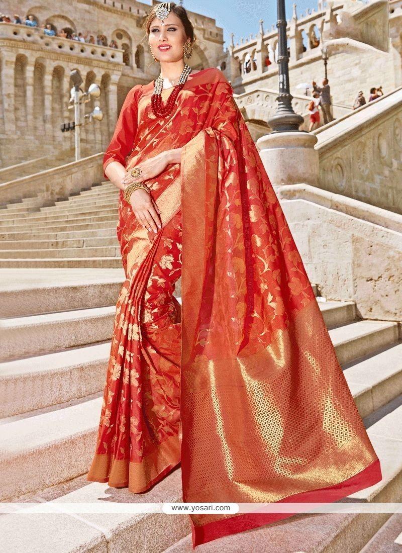 Jacquard Orange Designer Traditional Saree