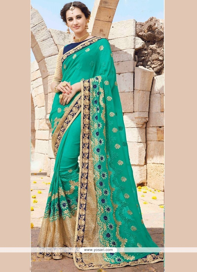 Embroidered Faux Georgette Designer Saree In Sea Green