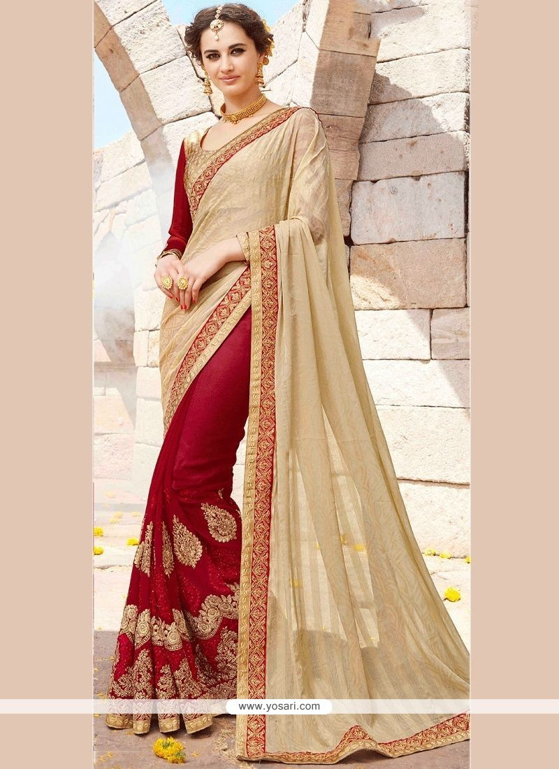 Patch Border Work Beige And Maroon Faux Georgette Designer Half N Half Saree