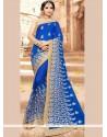 Faux Georgette Blue Classic Designer Saree