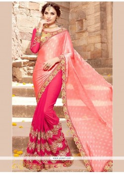 Satin Hot Pink And Pink Half N Half Saree