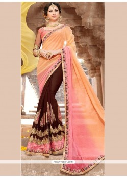 Faux Georgette Embroidered Work Designer Half N Half Saree