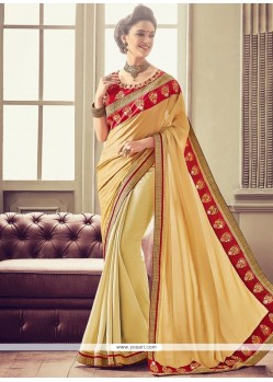 Patch Border Work Beige Designer Traditional Saree