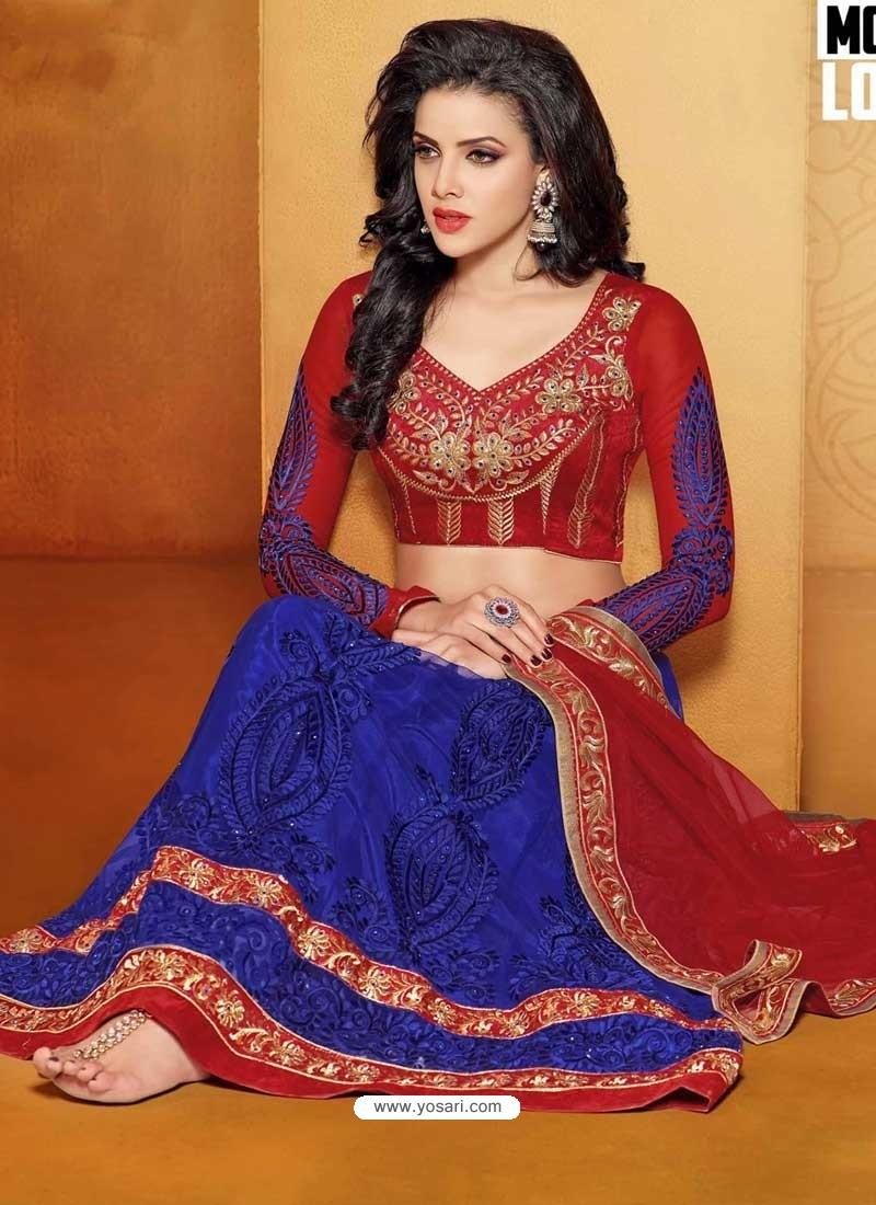 Red And Blue Net Designer Lehenga Choli
