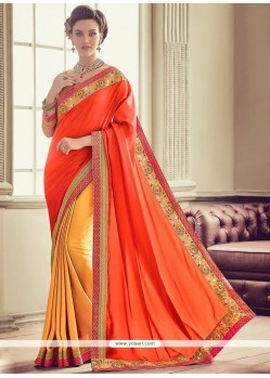 Art Silk Embroidered Work Designer Half N Half Saree