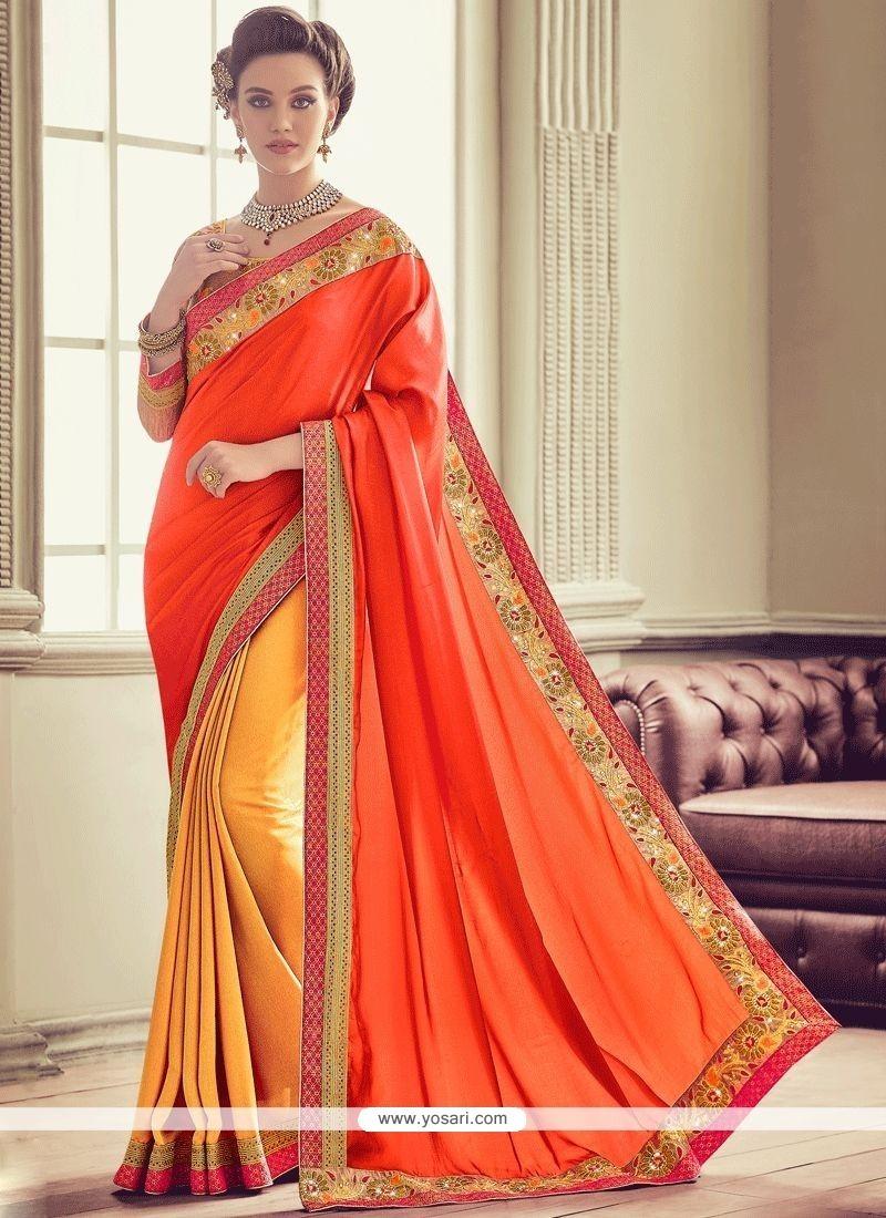 Art Silk Embroidered Work Designer Half N Half Saree