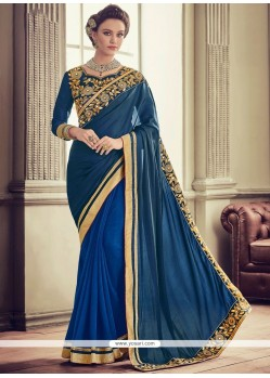 Art Silk Navy Blue Patch Border Work Designer Traditional Saree