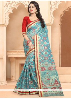 Banarasi Silk Blue Traditional Designer Saree