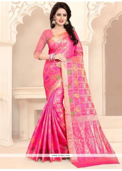 Weaving Work Hot Pink Traditional Designer Saree