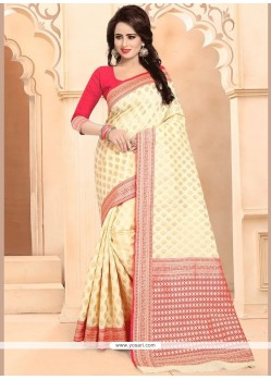 Banarasi Silk Cream Designer Traditional Saree