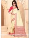 Banarasi Silk Cream Designer Traditional Saree