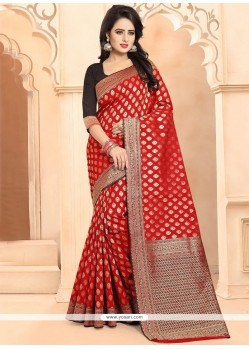 Red Weaving Work Banarasi Silk Traditional Designer Saree