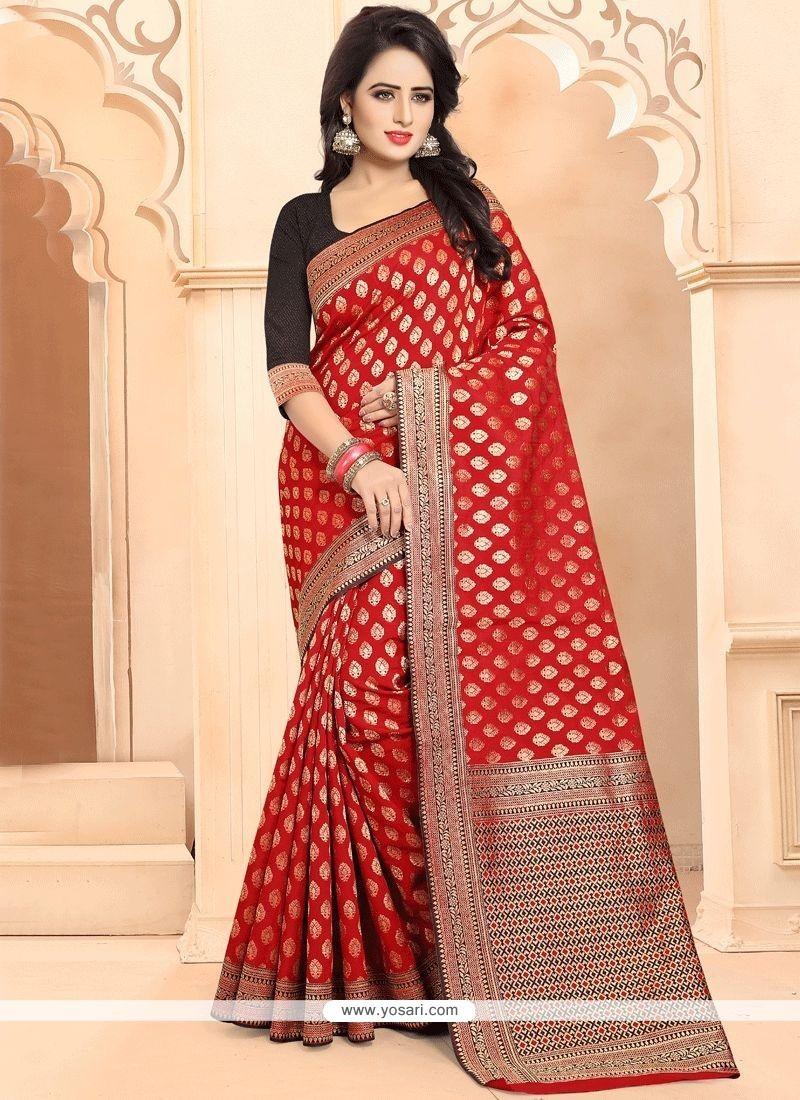 Red Weaving Work Banarasi Silk Traditional Designer Saree