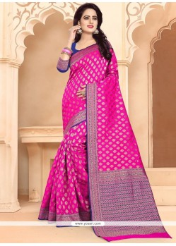 Hot Pink Banarasi Silk Traditional Designer Saree