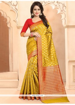 Weaving Work Mustard Designer Traditional Saree