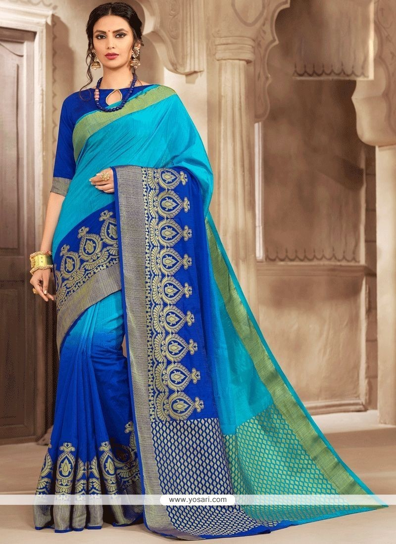 Blue Print Work Designer Traditional Saree