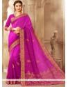 Print Jacquard Traditional Saree In Rani