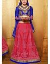 Blue And Red Net Designer Lehenga Choli
