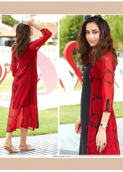 Black And Red Print Work Party Wear Kurti