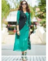 Print Work Teal Party Wear Kurti