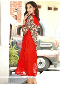 Print Work Red Party Wear Kurti