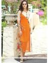 Faux Georgette Orange Print Work Party Wear Kurti